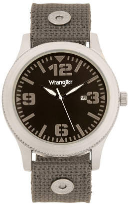 Wrangler Men Watch, 57MM Silver Colored Case with Black Dial, Black Arabic Numerals with White Hands, Green Nylon Strap with Rivets, White Second Hand