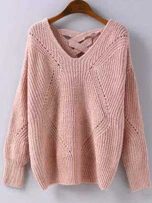 Shein Geometric Pattern Lattice Back Sweater