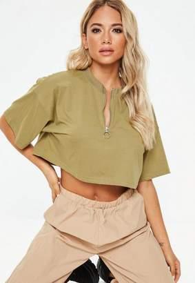 Missguided Khaki Zip Front Short Sleeve Crop Top