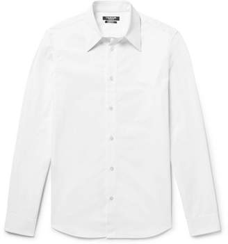 Calvin Klein Slim-Fit Embroidered Cotton-Poplin Shirt