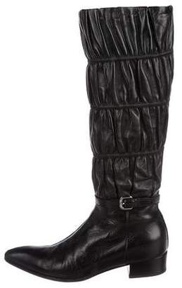Prada Leather Buckle-Embellished Boots