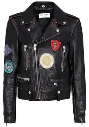 Saint Laurent Appliquéd leather biker jacket