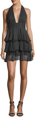 Milly Mia Polka Dot Silk Tiered Mini Cocktail Dress