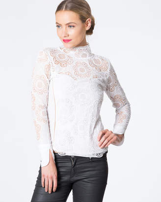 High Neck Long-Sleeved Lace Top