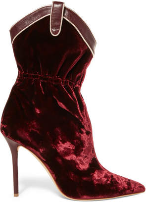 Malone Souliers by Roy Luwolt - Daisy Leather-trimmed Velvet Ankle Boots - Burgundy