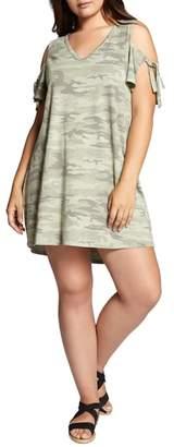 Sanctuary Lakeside Camo Cold Shoulder T-Shirt Dress
