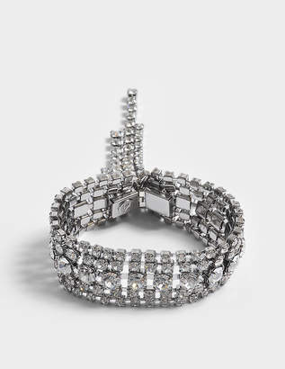Helene Zubeldia Crystals Cascade Open Bracelet in Ruthenium and Crystals