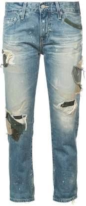 AG Jeans ex boyfriend distressed patchwork jeans