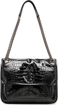 Saint Laurent Medium Niki Croc Embossed Monogramme Chain Bag