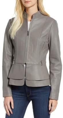 Tahari Thea Peplum Hem Leather Jacket