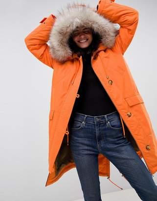 Asos Design DESIGN luxe parka with faux fur trim