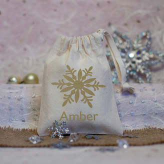 Nutmeg Home & Gifts Personalised Snowflake Christmas Favour Bag