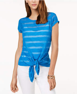 INC International Concepts I.N.C. Illusion Tie-Front T-Shirt, Created for Macy's