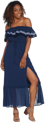 Vince Camuto Ruffled Off-the- Shoulder Belted Maxi Dress