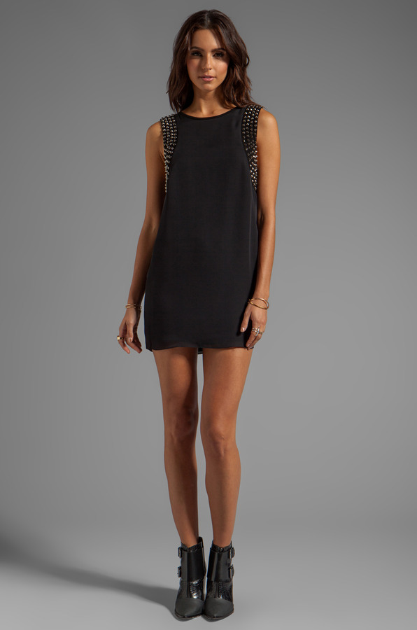 Haute Hippie Dress with Studded Suede Panels