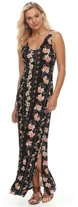 Juniors' Pink Republic Side-Slit Maxi Dress
