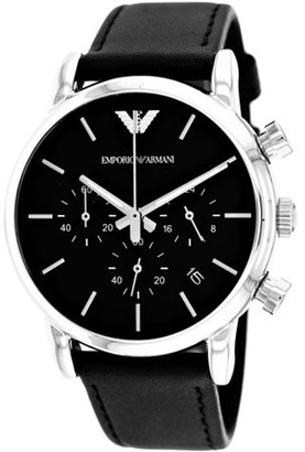 Emporio Armani Sport Black Leather Chronograph Mens Watch AR1733