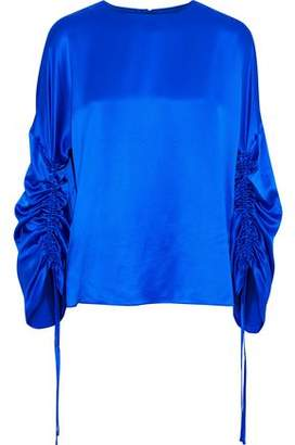 Tibi Ruched Silk-Satin Blouse