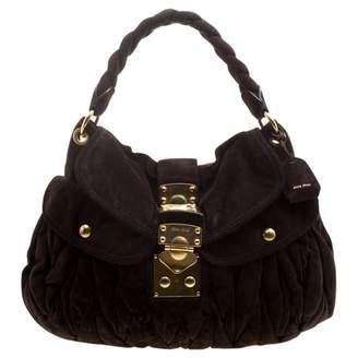 Miu Miu Coffer Brown Suede Handbags