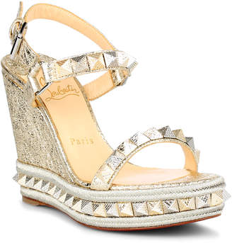 Christian Louboutin Pyraclou 110 metallic leather espadrilles