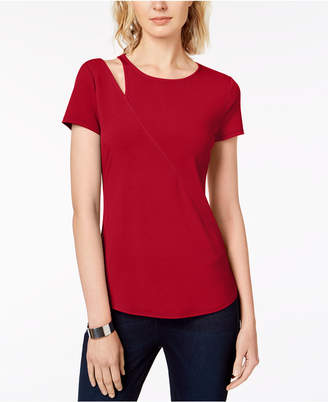 INC International Concepts I.n.c. Cutout-Shoulder T-Shirt, Created for Macy's