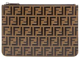 Fendi Ff Logo Leather Pouch - Mens - Black Brown