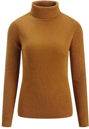 Fengtre Women's Cashmere Stretchy Turtleneck Basic Pullover Sweater Knit Top,Darkyellow L