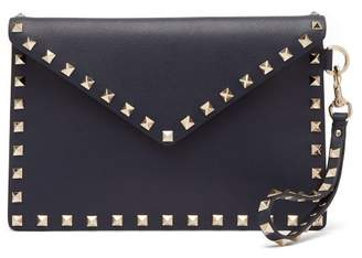Valentino Rockstud Leather Envelope Clutch - Womens - Navy