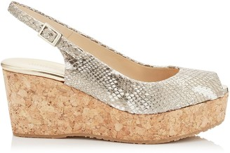 Jimmy Choo PRAISE Champagne Metallic Snake Printed Leather Peep Toe Cork Wedges