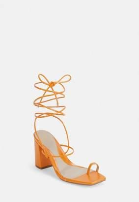 Missguided Orange Minimal Strap Toe Post Mid Heel Sandals