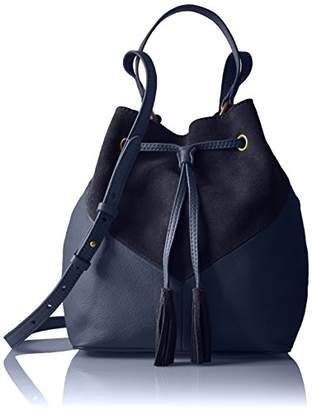 The Fix Mckenzie Suede and Leather Bucket Crossbody Bag