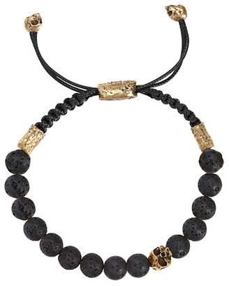John Varvatos Collection Mercer Black Lava & Skull Beaded Leather Cord Bracelet