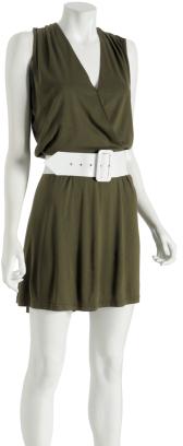 Alice & Olivia safari jersey v-neck 70's belted dress