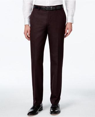 Calvin Klein Men's Burgundy Flat-Front Slim-Fit Dress Pants $95 thestylecure.com