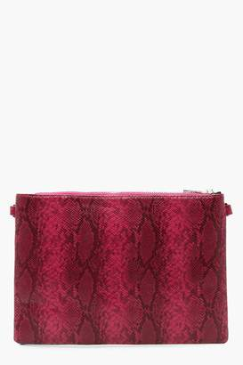 boohoo Faux Python Snake Clutch With Chain