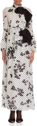 Giambattista Valli Printed High Neck Silk Gown