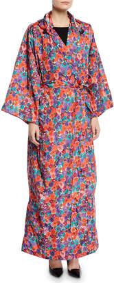Vetements Hooded Floral-Print Kimono Raincoat