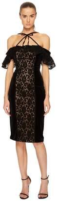 Marchesa Stretch Velvet Off Shoulder Gown