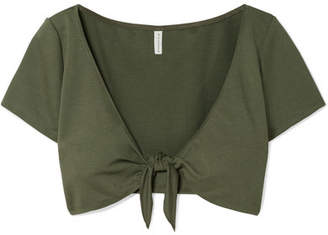 Solid & Striped Cropped Tie-front Stretch-ponte Top - Army green
