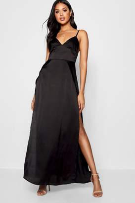 boohoo Katherine Satin Extreme Split Maxi Dress