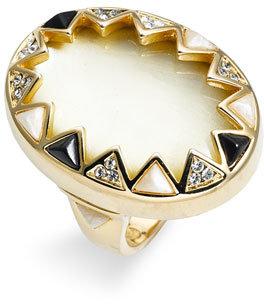 House of Harlow 1960 Enamel & Crystal Sunburst Ring