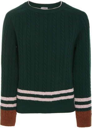Lanvin Striped Wool and Cashmere-Blend Cable-Knit Sweater