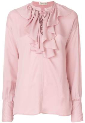 Etro ruffled lace-up blouse