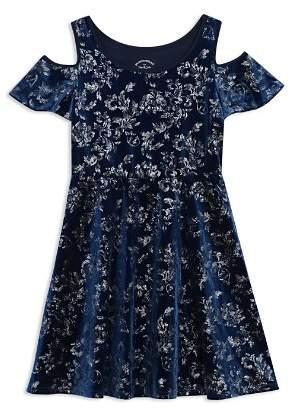 Pippa & Julie Girls' Floral Velvet Cold Shoulder Dress - Big Kid