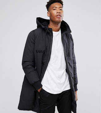 Asos Tall Heavyweight Parka With Borg Lined Hood In Black