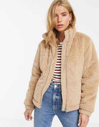 New Look faux fur cord puffer jacket in camel