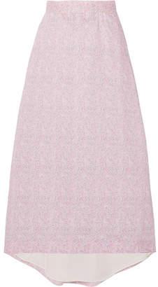 Floral-print Cotton-poplin Midi Skirt - Baby pink