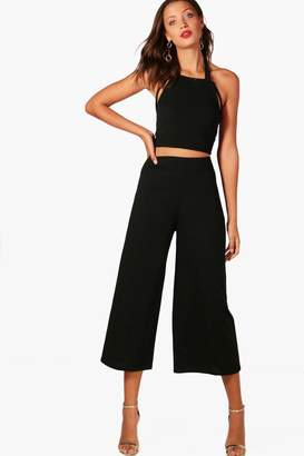 boohoo Tall Ivy Wide Leg Trouser And Strappy Crop