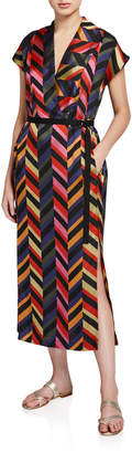 Zero Maria Cornejo Leah Chevron Striped Belted Dress