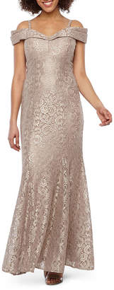 R & M Richards Short Sleeve Cold Shoulder Lace Evening Gown